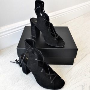 YSL 'Babies' Lace Up Suede Heels